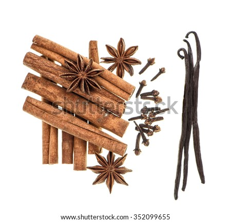Spices cinnamon, star anise, cloves, vanilla. Christmas food ingredients isolated in white background - stock photo