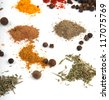 spices collection isolated on white background - stock photo
