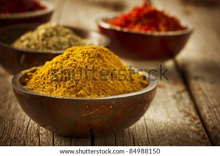 Spices Curry, Saffron, turmeric - stock photo