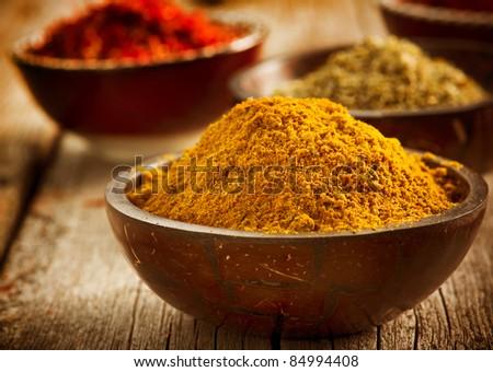 Spices Curry,Saffron, Turmeric - stock photo