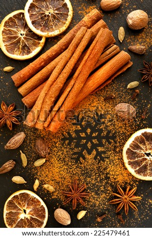 Spices for Christmas baking. Christmas food background - stock photo