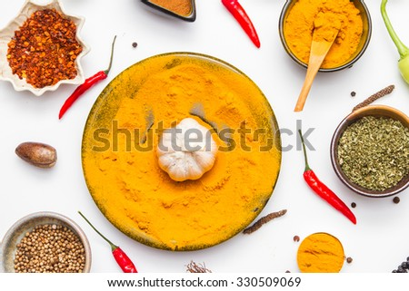 Spices for herb and cooking on white background. - stock photo