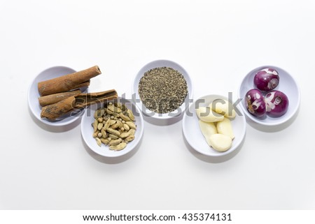 Spices for herb and cooking,Top view spices on white background,spices content,Various kinds of spices on white background. - stock photo
