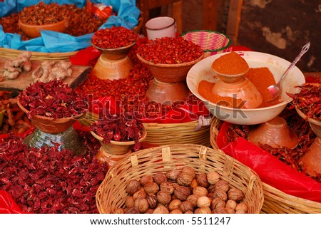 Spices for sale in Chiapas, mexico - stock photo