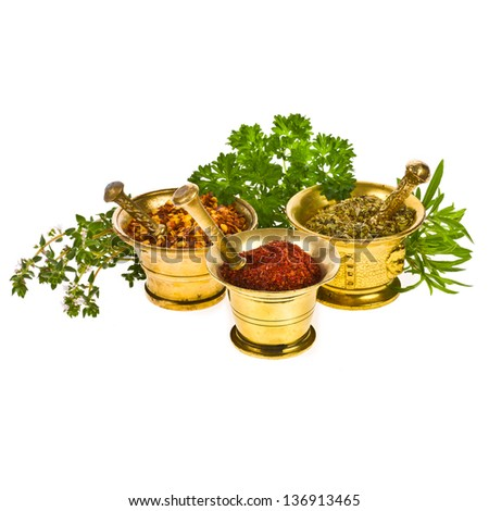 Spices for the kitchen - dry oregano, sumac, a mixture of peppers in three copper mortars and fresh sprigs of herbs isolated on white background - stock photo