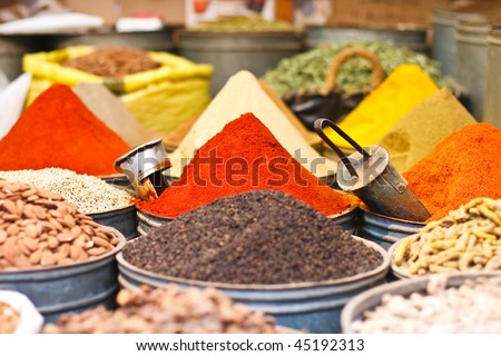 Spices from Moroccan Market - stock photo