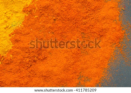 Spices: ground turmeric and paprika