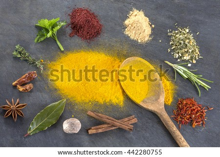 Spices Herbs and spices powder selection on slate - stock photo