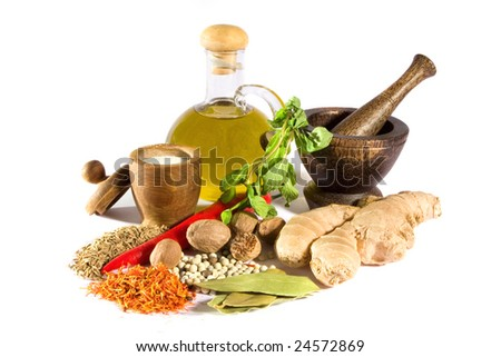 Spices, herbs, salt, olive oil and mortar with pestle isolated on white background - stock photo