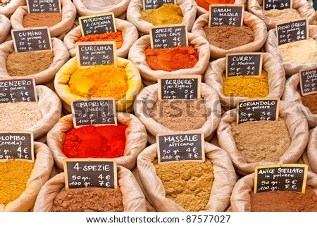Spices in a market. - stock photo