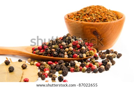 spices in a wooden spoon on a white backgrounds
