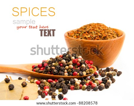 spices in a wooden spoon on a white backgrounds - stock photo