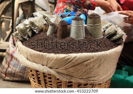Spices in bags at the market in Kathmandu, Nepal. - stock photo