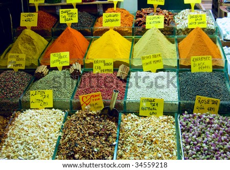 spices in istanbul grand bazaar - stock photo