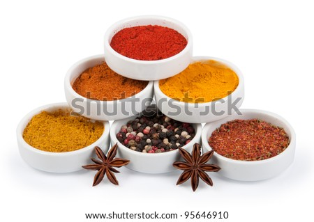 Spices in porcelain plates isolated on white background - stock photo