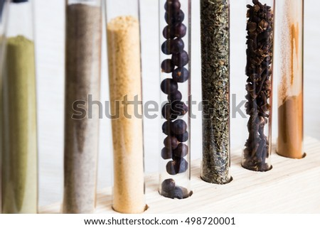 Spices in test tubes.