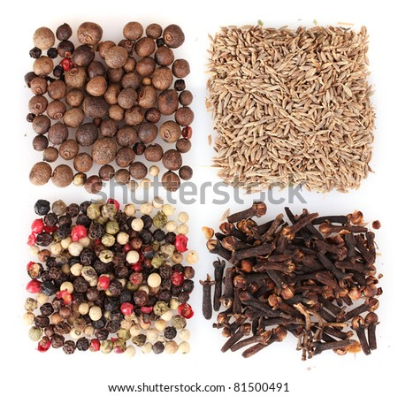 spices isolated on white - stock photo