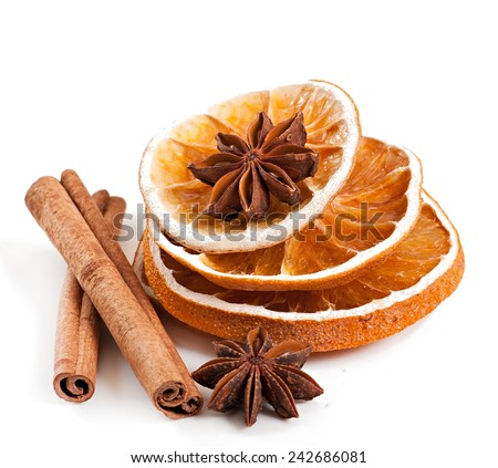 spices isolated on white background, star anise, cinnamon and dried orange - stock photo