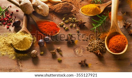 Spices mix on a wooden background. View from above