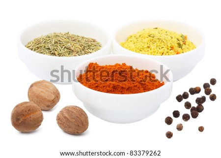 Spices - nutmeg, black pepper, peas, red pepper, paprika, seasoning