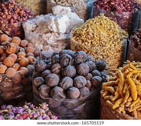 Spices on and nuts the Arab market, souk - stock photo