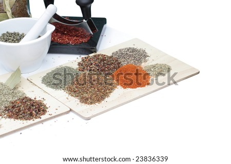 Spices on table