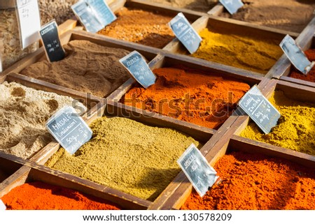 Spices on the market, France - stock photo