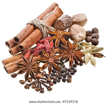 spices on white - stock photo