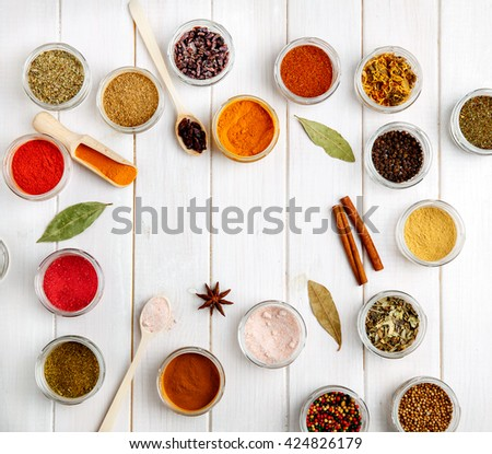Spices on white wooden background. Food - stock photo