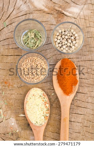 Spices on wooden rustic background