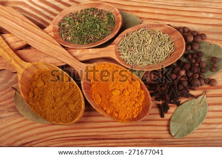 Spices on wooden table.