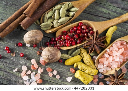 spices on wooden table, aniseed, himalayan salt, red pepper, cardamom, turmeric, cinnamon and nutmeg - stock photo