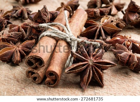spices on wooden table, selective focus - stock photo