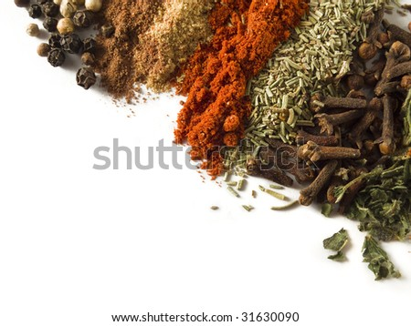spices over white - stock photo