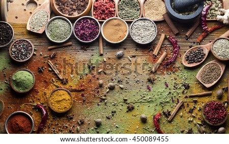 spices painting, Wooden table of colorful spices