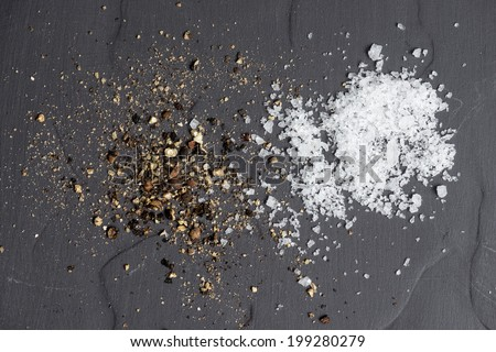 Spices Salt and Pepper - stock photo