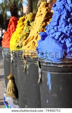 Spices shop in the medina of Marrakech, Morocco - stock photo