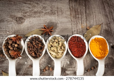 Spices. Spice in white bowls and spoons. Herbs. Curry, Saffron, turmeric, cinnamon and other on a wooden rustic background. Pepper. Large collection of different spices and herbs. Salt, paprika. - stock photo