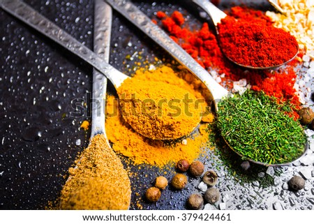 spices sprinkled on the table