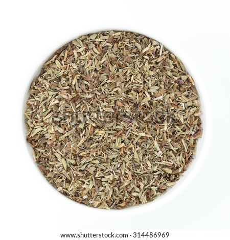 spices;thyme dried herbs on white background