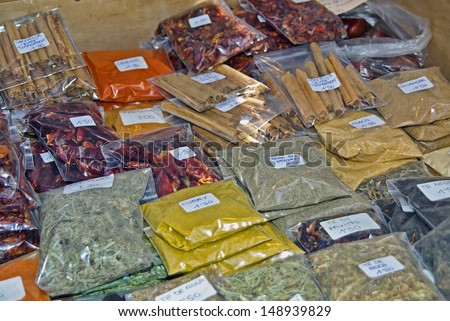 Spices to be sold on a typical market of Majorca (Spain) - stock photo
