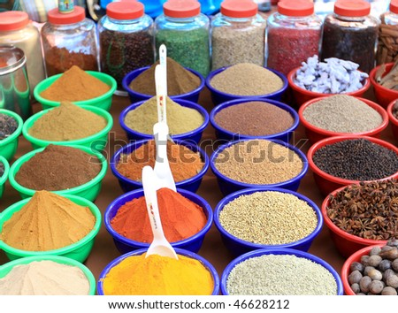 spices used in cooking - stock photo