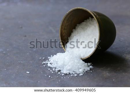 spices white sea salt in a metal bowl - stock photo