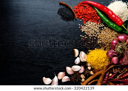 spices with ingredients on dark background. asian food, healthy or cooking concept. - stock photo