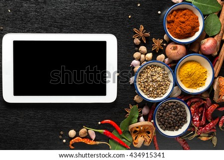 spices with ingredients on dark background. healthy or cooking concept,  asian food - stock photo