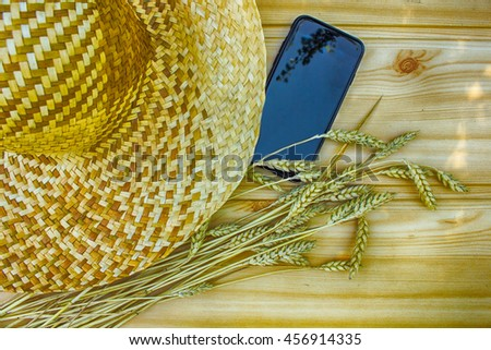 spicule laying next to straw hat and cellphone