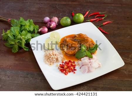 spicy canned sardine salad-food - stock photo