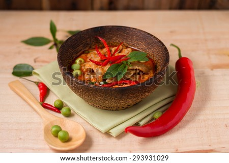spicy chicken curry ,popular Thai food. - stock photo