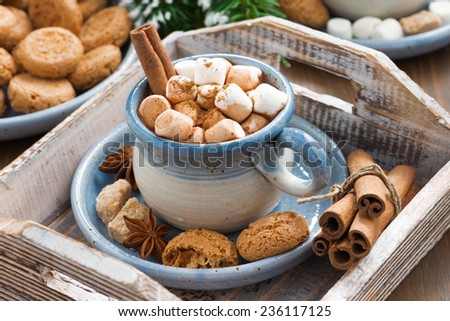 spicy cocoa with marshmallows  and cookies on a wooden tray, close-up - stock photo
