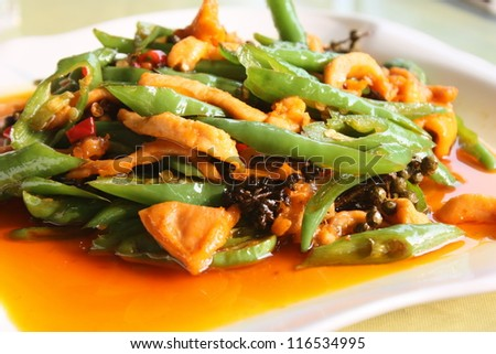 Spicy dish of pork with green peper